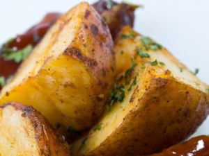 Roasted potatoes are delicious hot or cold.