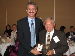"""Assemblymember Mike Feuer (l) recently honored Casa Vega and owner Rafael """"Ray"""" Vega (r) as the 42nd District Small Business of the Year."""