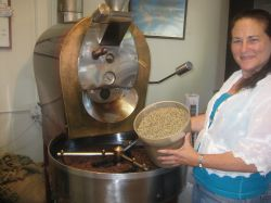 Owner Tracy Meehan roasts beans daily.