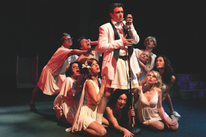 'Young Elvis' (James Snyder) and his adoring fans in the Troubadour Theater Company's Oedipus the King, Mama! at the Falcon Theatre.  Photo by Chelsea Sutton