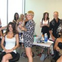 Allen Edwards stylists prepare models for an event.