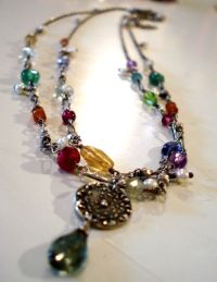 Chakra Pearl fringe double wrap necklace.