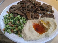The  beef and lamb shwarma (gyro) plate comes with a choice of two sides and rice. ($9)