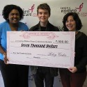 "Riley Ceder, 17, a Toluca Lake resident and a senior theater student at Los Angeles County School for the Performing Arts, presented a check for $7000 to  Susan G. Komen for the Cure on October 14.  Ceder raised the money by initiating, producing and starring in a production of Woody Allen's ""The Floating Lightbulb"" over one weekend last month at The Complex Theatre in Hollywood. He recruited fellow thespians for this student run production. Ceder said he chose Komen because there is breast cancer in his family and he wanted to do something to contribute to the cause. Pictured above with Ceder (l-r) is Maritza Collins (Project Manager for Susan G. Komen) and Deb Weintraub  (Director of Missions for Susan G. Komen)."