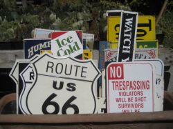 Vintage-look signs are for sale.