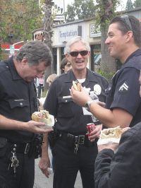 LAPD officers enjoy a pita lunch break.