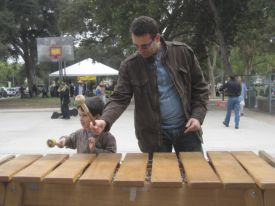 "Students from the CSUN ethnicmusicology program brought instruments for an ""Instrument Petting Zoo."""
