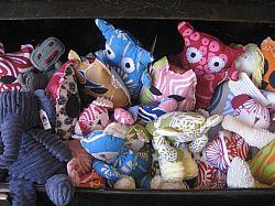 Stuffed whimsical animals in a myriad of fabrics. Photo: Carole Rosner