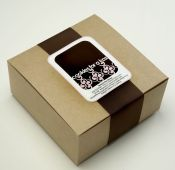 Each gift package comes classically wrapped with brown ribbon.