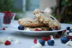 The Red White and Blue cookie with raspberries, white chocolate and blueberries was created in honor of America's birthday.