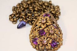 Vintage Bronze and Amethyst necklace