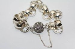 Sterling Heavy Link Bracelet with Rhinestone Ball Clasp