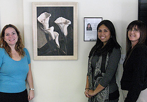 CSUN's Matadors Community Credit Union's Northridge branch is currently  hosting a solo art show for Wehrli's tudent, Jasmine Najar, featuring her Calla Lilly painting (L-R)Marnie Nemcoff, the CSUN's Matadors Community Credit Union V.P.Marketing, Jasmine  Najar, Linda Wehrli