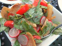 Fattoush salad with a special green leafy vegetable called Purslane makes this dish unique.  Photo: Karen Young