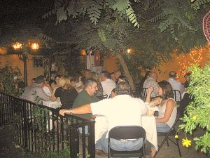 Garden patio at night.  Photo: Karen Young