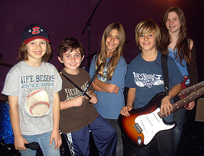 Rock Nation's first band: The Rockaholics (L-R) Spencer, lead singer; Max, drums; Kaily, keyboards; Edan guitar; Sarah, bass. Photo: Courtesy Rock Nation