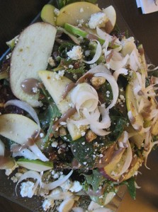 Asian pear salad with baby spinach, crumbled blue cheese, candied walnut and aged balsamic vinaigarette ($8).