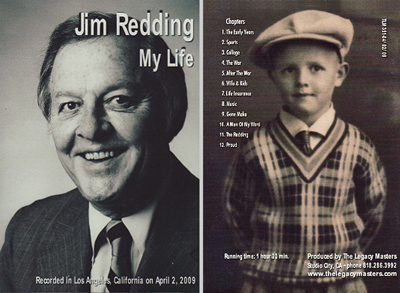 Jim Redding's DVD biography, front and back covers.