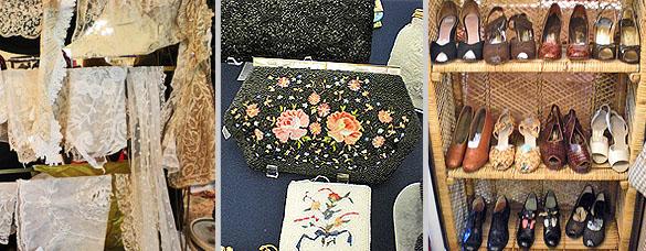 Left: Vintage lace; center: beaded handbags; shoes.
