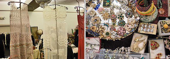 Left: Flapper gowns; right: costume jewelry galore.