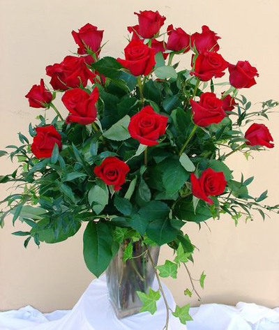 2 dozen long stem Ecuadoran red roses in rectangular vase starting at $200.