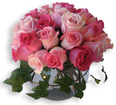 "Wysteria Lane's ""Avalance of Emotion,"" is two dozen roses in mixed pink hues. ($125)."