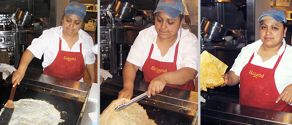 Making the Chicharron de Queso.