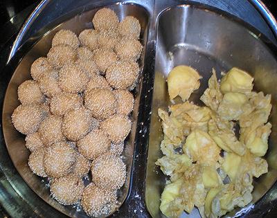 Sesame balls and cream cheese wontons.