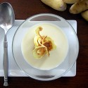 Potato soup with potato chip garnish. Photos: Chicks with Knives
