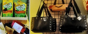 "Left:   Right: English Retreads bags, made from the inner tube of an 18"" wheel  tire, (fom $85 - $148)"