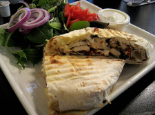 Chicken Lavosh Wrap and side salad