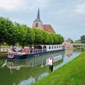 Renaissance barge docked in a French town. Photos: Mary McGrath