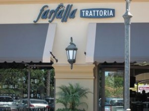 Farfalla in the Encino Marketplace has a good sized outside patio and tall communal table, booths and smaller tables inside.  Photo: Jocelyn Freid