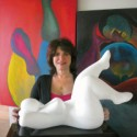 Alisa Gabrielle with her Cloud 9 sculpture.