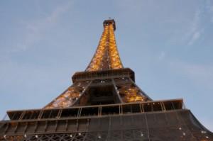 The Eiffel Tower at dusk.