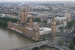 View of the British Parliament from the Millenium Wheel. Photo: David Nichols
