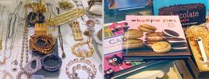 Jewelry and cookbooks.