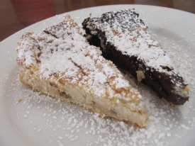La Cava makes homemade desserts. Ricotta Cheese Torte and Chocolate Torte seen here.