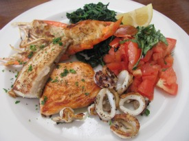 Pesce Griglio with lobster, almon, white fish, calamari, spinack and checca was a lunch special