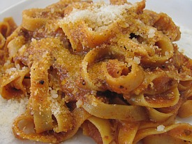 Tagiatelle Bolognese (split portion with fresh parmesean added)