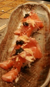 Premium salmon with caviar.