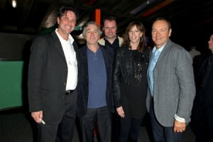 """(L-R) Producer Brad Koepenick, Tribeca Film Festival Co-founder Robert De Niro, director Alex Rotaru, Tribeca Film Festival Co-founder Jane Rosenthal and actor Kevin Spacey attend the premiere of """"Shakespeare High"""" during the 2011 Tribeca Film Festival at SVA Theater on April 24, 2011 in New York City. (April 23, 2011 - Photo by Dario Cantatore/Getty Images North America)"""