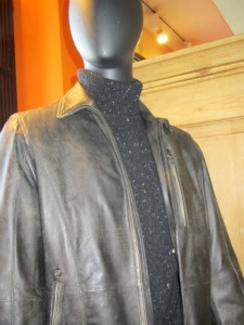 Handmade Gimo leather jackets from Italy are among the many upscale winter sale itemsat Sy Devore.
