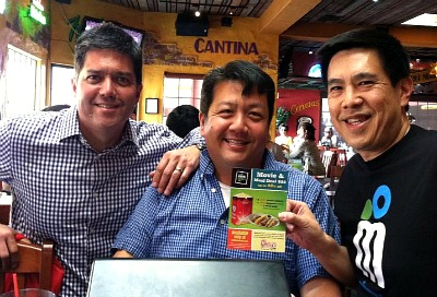 MyMovieDeals.com co-founders Frank Buckley (right) with Gordon Ho (left) and lead developer Bryan Kimora (center) at Chevys last weekend.