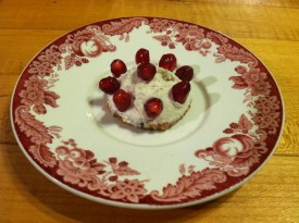 "Mini raspberry ""cheese"" cake with Nary Dairy."