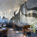 The dining room of Girasol is designed by Gulla Jonsdottir of G+ who is also responsible for Red O, Hyde, Sushi Roku, and Roxbury.